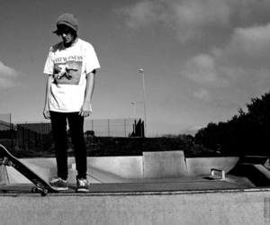 skate, black and white, and boy image