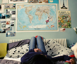 room, map, and travel image