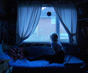 girl, blue, and bedroom image