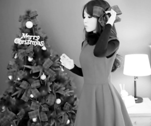 asian fashion, black and withe, and merry christmas image