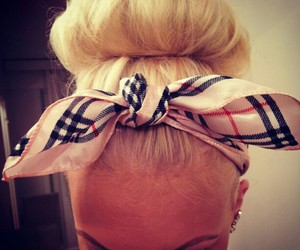 hair, blonde, and Burberry image