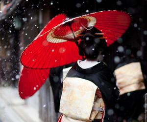 geisha, japan, and snow image