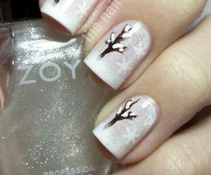 nails, nail art, and snow image