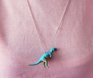 dinosaur, girl, and necklace image