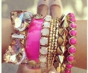 pink, bracelet, and gold image