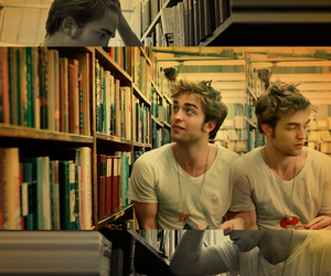 books, library, and robert pattinson image