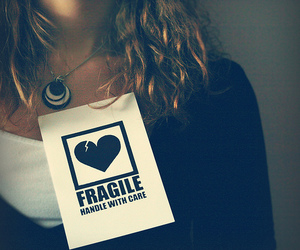 girl, fragile, and heart image