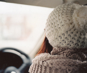 girl, winter, and car image