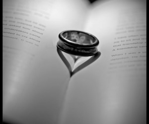 black and white, rings, and books image