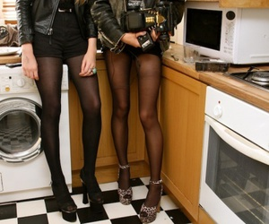 girl, legs, and kitchen image