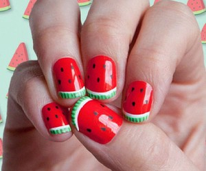 nails, red, and watermelon image