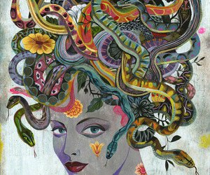 art, medusa, and snake image