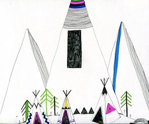 drawing, illustration, and teepee image