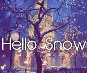 snow, winter, and hello image