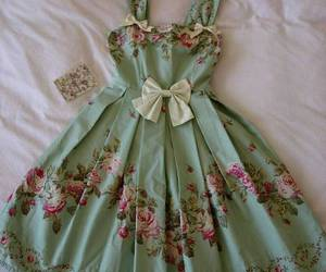 dress, green, and flowers image