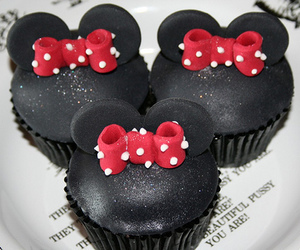 cupcake, minnie mouse, and sweet image