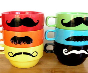 cups, mustaches, and teacups image