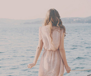 girl, sea, and dress image