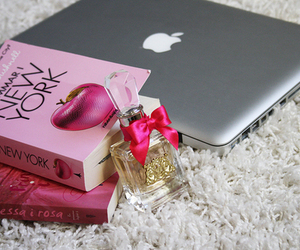 book, apple, and perfume image