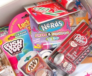 dr pepper, nerds, and twizzlers image