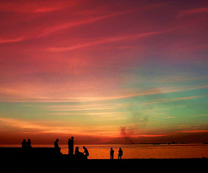 sky, sunset, and friends image