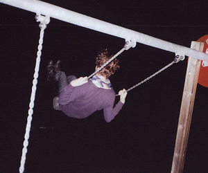 boy, swing, and night image