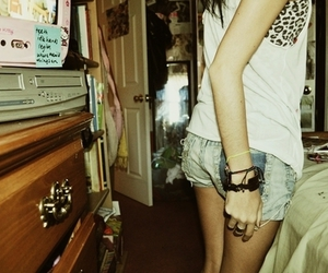 girl, leopard, and shorts image