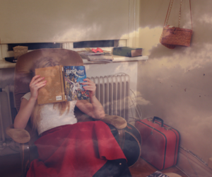 armchair, girl, and reading image