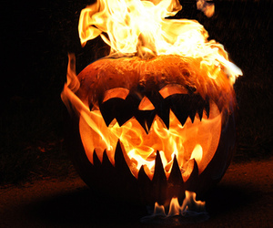 Halloween, pumpkin, and fire image