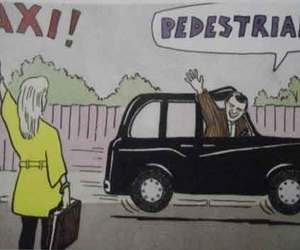 taxi, funny, and pedestrian image