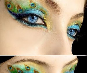 makeup, eyes, and peacock image