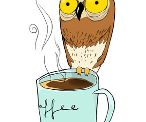 coffee, owl, and drawing image