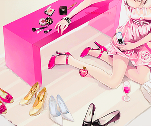 pink, anime, and shoes image