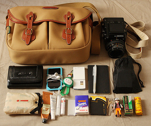 bag, camera, and accessories image