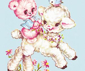lamb, pastel, and vintage illustration image