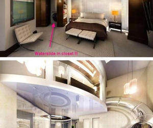 beautiful room, waterslide, and awesome room image