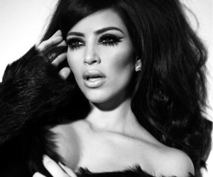 kim kardashian, black and white, and make up image