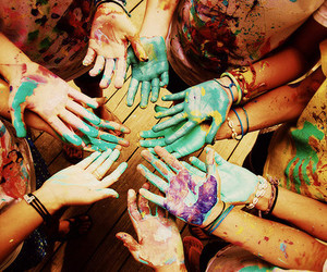 hands, friends, and paint image