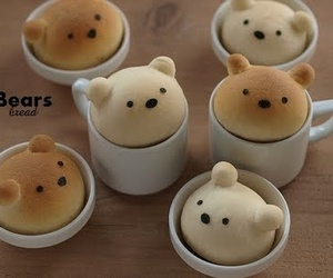 cute, bear, and bread image
