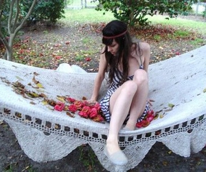 doily, hippie, and roses image