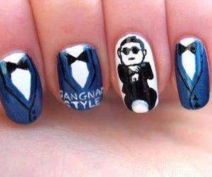 nails, gangnam style, and blue image