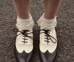 black white, fashion, and oxford shoes image