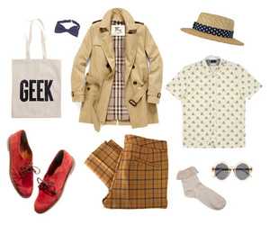 boater, sunglasses, and trench coat image