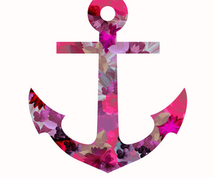 anchor, pink, and flowers image