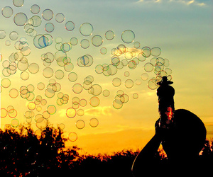 bubbles, sunset, and sky image