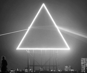 Pink Floyd, black and white, and triangle image