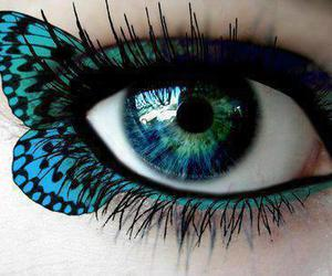 eye, butterfly shape, and green blueish eyes image