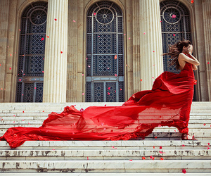 red, dress, and wind image