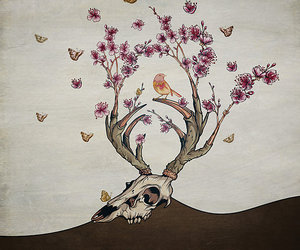 bird, death, and flowers image