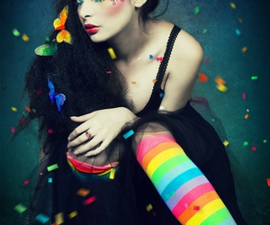 girl, butterfly, and rainbow image
